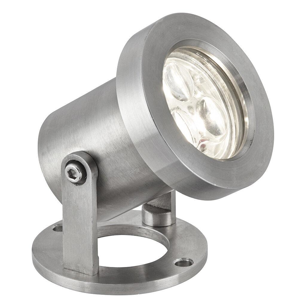 Searchlight 3 X 1 W LED Luz De Acero Inoxidable al Aire Libre Jardín Garaje Spotlight Nuevo
