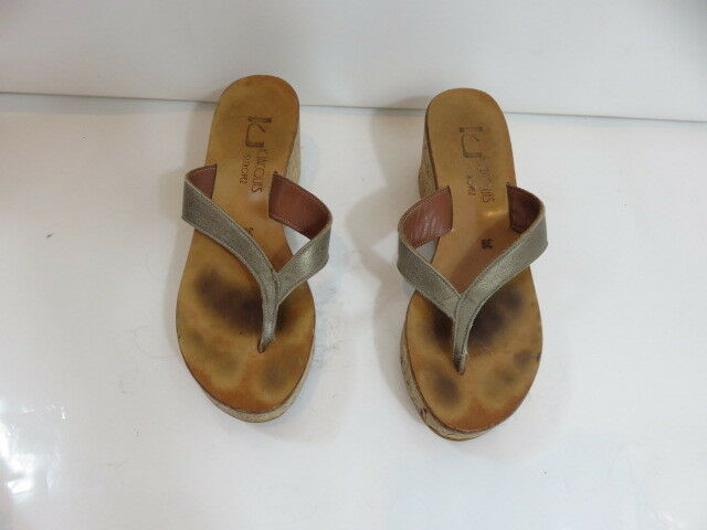 K Jacques St. Tropez Thong Cork Diorite Wedge Taille Euro 38
