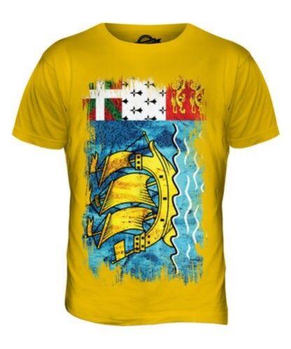 Saint shirt Hommes Drapeau Et Saint Pierre Haut Miquelon Grunge T pierre 8Bx7zq