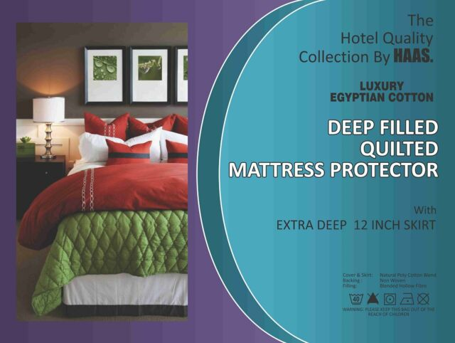 "EXTRA DEEP QUILTED MATTRESS PROTECTOR  12"" FITTED BED COVER 115GSM"