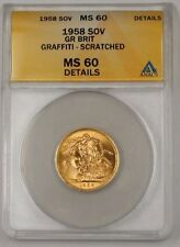 1958 Great Britain Sovereign Gold Coin ANACS MS-60 Details Graffiti Scrt(Better)
