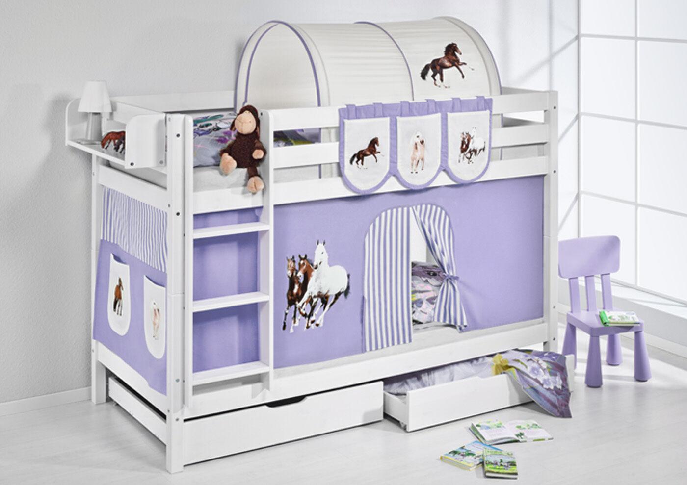 Litera Cama Litera Jelle blanc 190x90 cm + Somier Lilokids Caballos violet