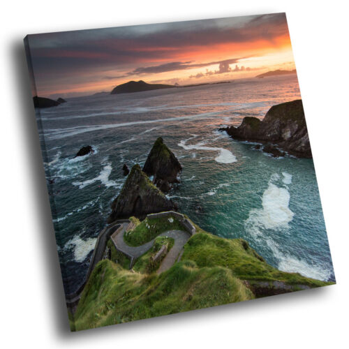Square Scenic Canvas Wall Art Photo Picture Print Ocean Cliff Sunset Ireland