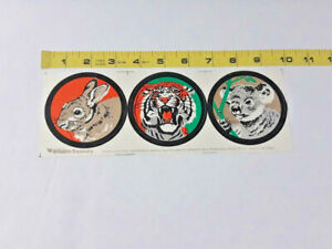 Vtg-Lot-of-3-Illustrated-Wildlife-Safari-Treasury-Decal-Stickers-Ships-FREE