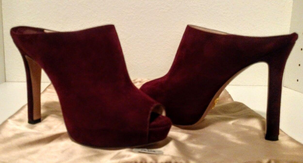 Prada Mujer Mujer Mujer Gamuza Plataforma Sin Talón Tacón Alto Zapatos De Salón Granato Punta Abierta Zapatos 4 1 2  tienda en linea