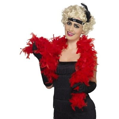 Women/'s 20/'s 30/'s Charleston Fancy Dress Flapper Red Headband /& Feather Hen Fun