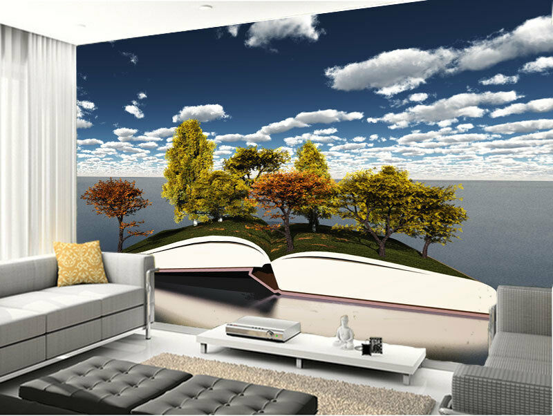 3D Trees Growing Open Book Full Wall Mural Photo Wallpaper Print Paper Home Deco