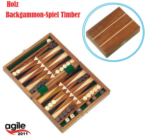 Spiel Timber Tavla Handarbeit Mini Backgammon 18x13x3,5Cm Holzkiste