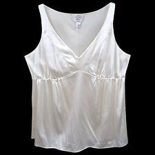 Talbots 16 Cream Silk Spandex V Neck Sleeveless Empire Waist Tunic Top Career