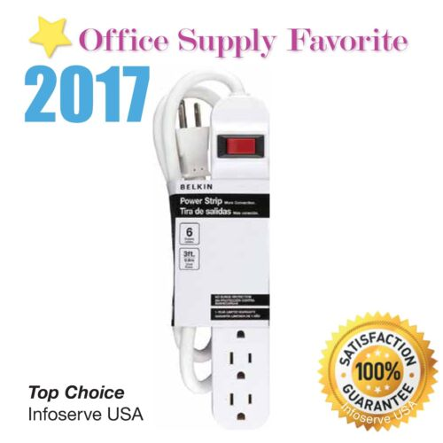 Ship Same day * New Belkin 6-Outlet Power Strip 3 ft heavy-duty  cord 6 outlet
