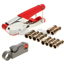 Compression Tool F BNC RCA RG6 RG59 Connector Cable Coax Stripper Crimper Set