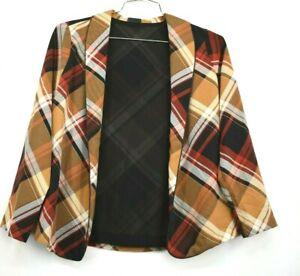 Bobeau Womens Plaid Open Woven Blazer Jacket Shawl Collar Long Sleeves Size SP