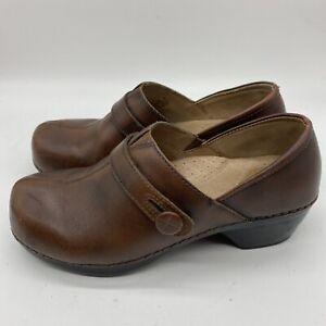 Dansko-Solstice-Monk-Womens-Professional-Clogs-38-8-8-5-Brown-Leather-Split-Toe