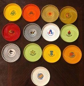 RARE-1974-WFL-Lot-of-Coasters-13-Ritepoint-USA-3-1-2-034-AWESOME-SHAPE