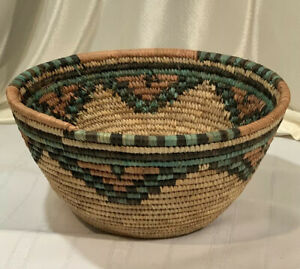 Large-Woven-Coiled-Straw-Basket-Nigerian-Hausa-Green-Black-Brown-Natural