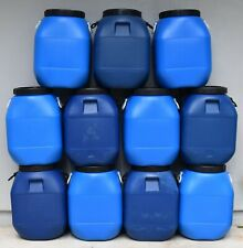 15 Gallon Storage Container Barrel Drum Heavy Blue Plastic Screw Top Handles B07