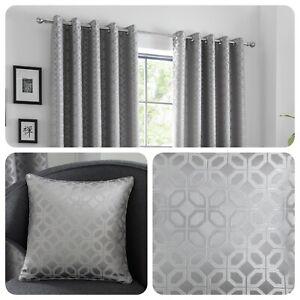 Curtina-ORIENTAL-SQUARES-Silver-Metallic-Jaquard-Duvet-Cover-Set