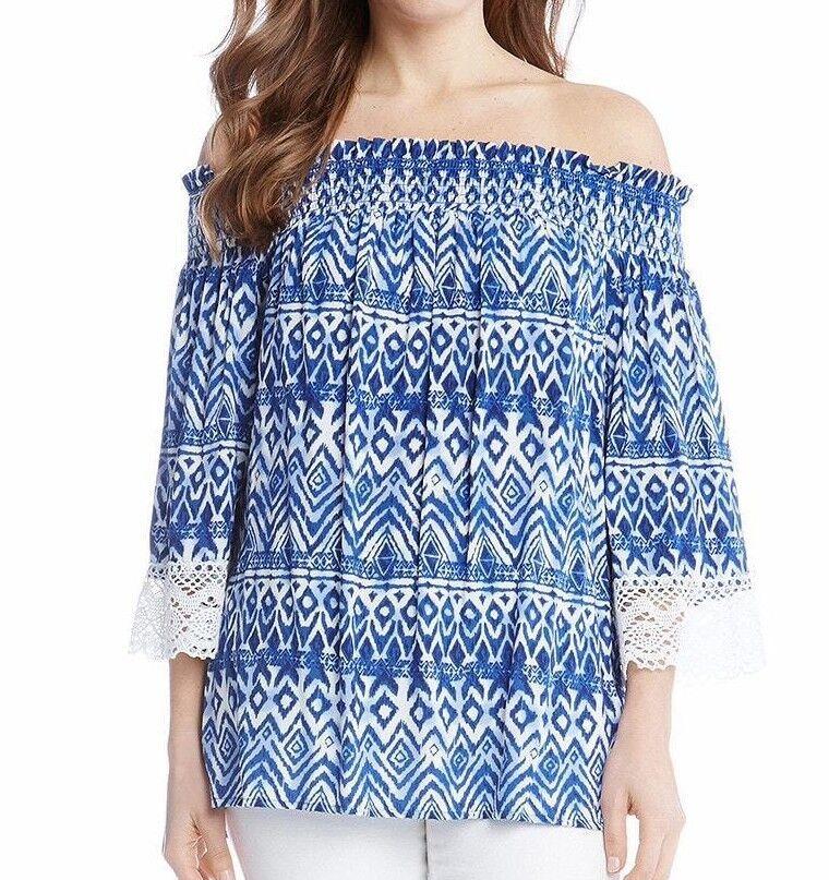 Karen Kane 2L86527 Blau Print Boho Off The Shoulder Lace Sleeve Top -