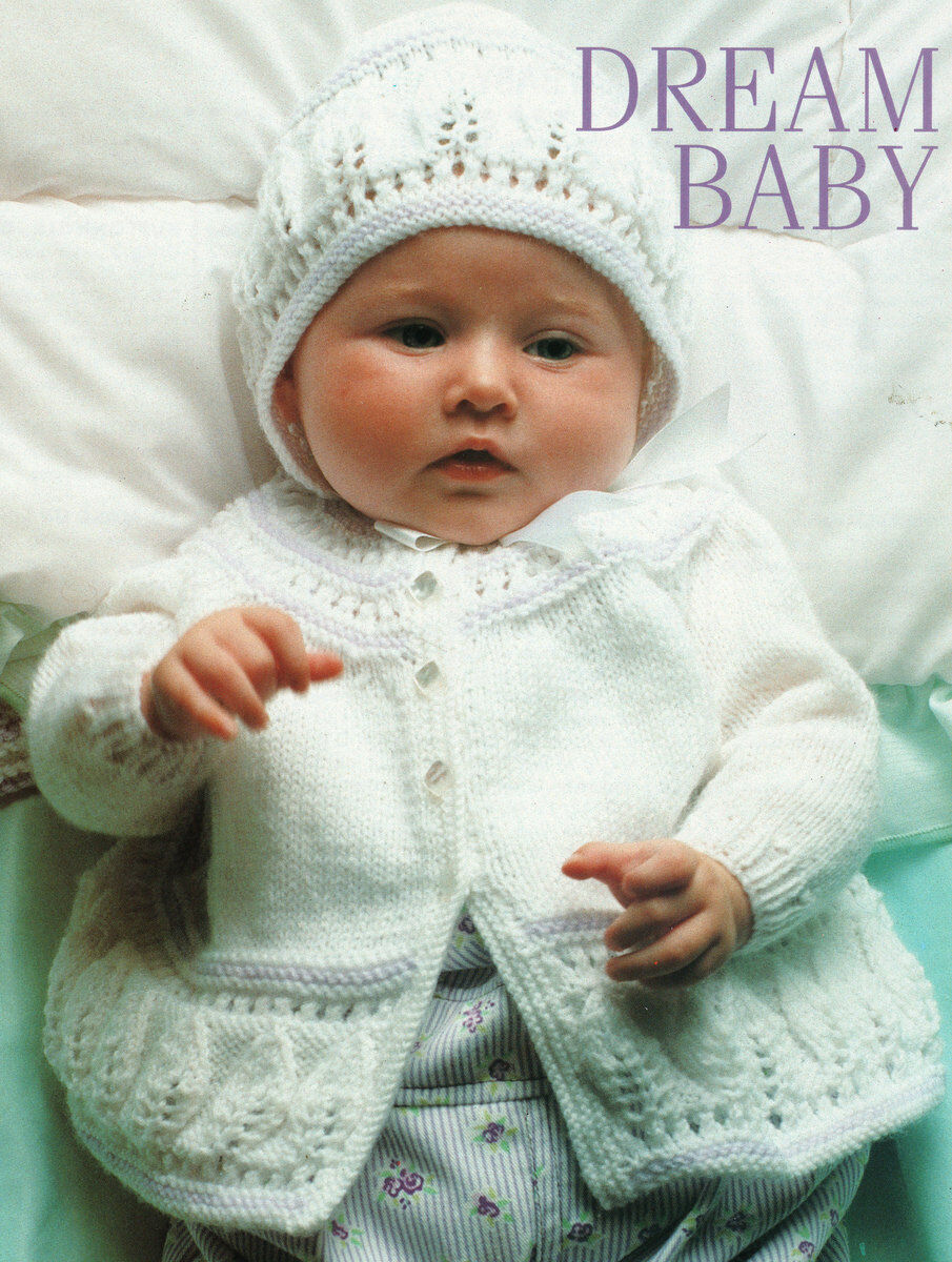 """LITTLE HEARTS BABY LAYETTE 22/"""" BONNET SHAWL,CARDIGAN BOOTEES /& MITTS 16/"""""""