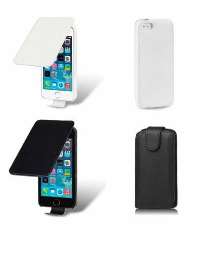 Protector De Cuero Abatible Estuche Cubierta Petaca Para Apple iPhone 5 se 5G 5S Blanco Negro