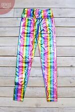 High Waisted Metallic Sheer Rainbow Festival Leggings