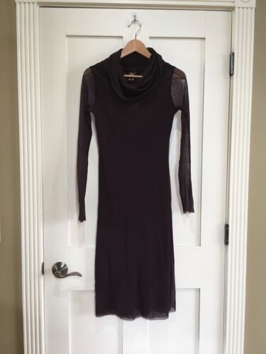 Jean Paul Gaultier Soleil Turtleneck Nylon Bodycon Dress Sheer Sz Medium Purple by Jean Paul Gaultier