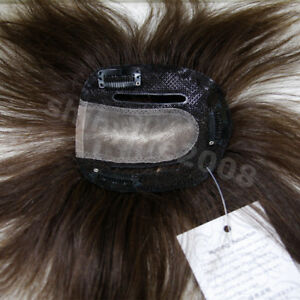 New-100-Human-Hair-Clip-in-Extensions-Toupee-Hairpiece-Breathable-Dark-Brown