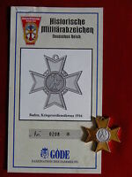 GÖDE ORDEN BADEN KRIEGSVERDIENSTKREUZ 1916 + ZERTIFIKAT Nr.0208