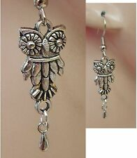 Silver Owl Charm Drop/Dangle Earrings Handmade Hook Jewelry NEW Fashion