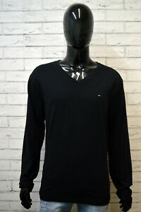 Maglione-Nero-Uomo-TOMMY-HILFIGER-Taglia-2XL-Pullover-in-Cotone-Cardigan-Sweater