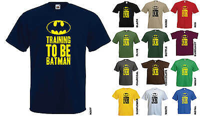 TRAINING TO BE BATMAN T-SHIRT - FUNNY JOKE WORKOUT GYM MEN'S LADIES SUPERHERO