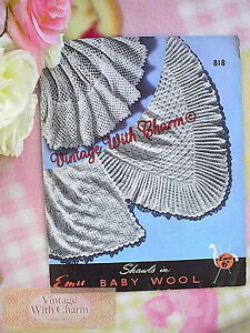 Vintage-Knitting-Pattern-Baby-039-s-Shawl-3-Styles-2-Knitted-1-Crocheted-FREE-P-amp-P