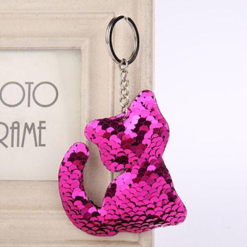 Reflective Glossy Cat Keychain Pendant Kitten Sequin Keyfob Sequin Keyring Gift