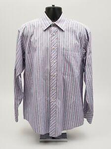 Ted-Baker-London-Men-039-s-Dress-Shirt-Size-16-34-35-Blue-Purple-Stripe