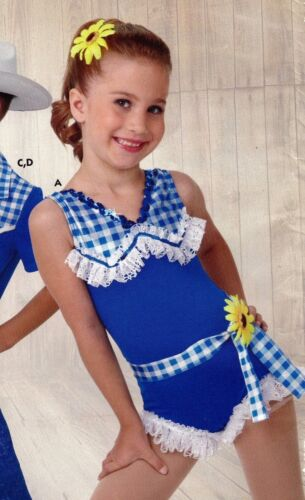 NWT Dance Costume Shorty unitard Country Girl Blue Lace ruffle hem w//sunflowers