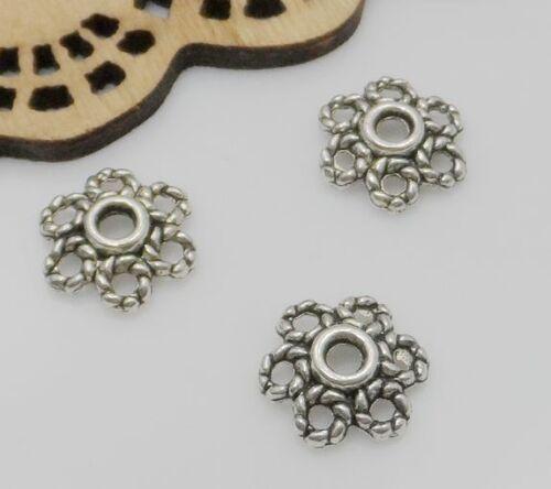 Free Shipping 100//500pcs Tibetan Silver Flower Beads Caps 10x3mm