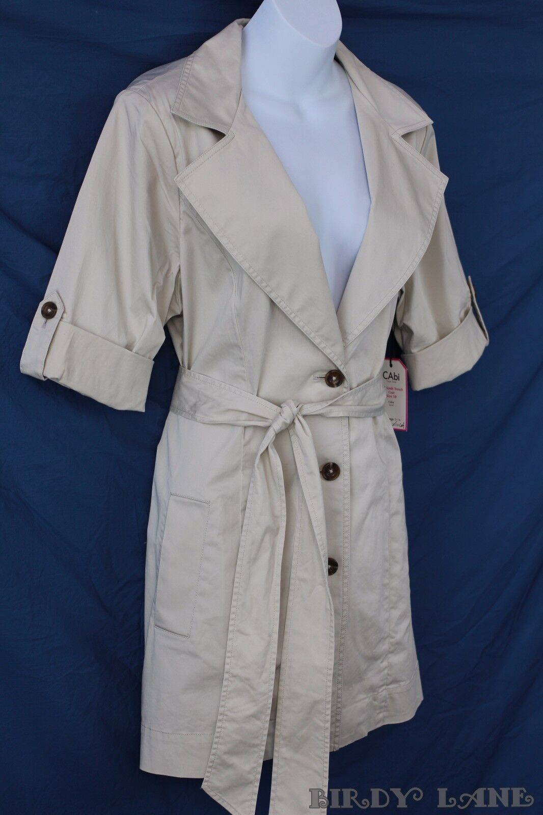 CAbi Sandy Trench Coat Belted Short Cuffed Sleeve Stretch Cotton Sz 10 NWT