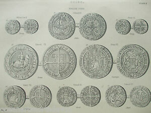 Details about ANTIQUE PRINT C1880'S COINS ENGRAVING ENGLISH COINS  ILLUSTRATED MONEY HISTORY