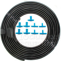 25' Sleek/stealth Black Aquarium/hydroponic 1/4 Air Line Tubing & Tee Valve Kit
