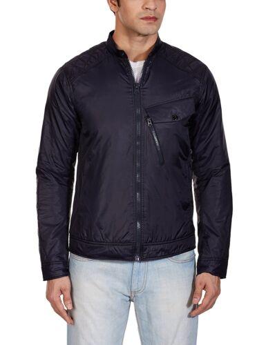 G-STAR RAW Mens 82616F Revend 3D Slim Biker Jacket Dark Blue Medium RRP £150