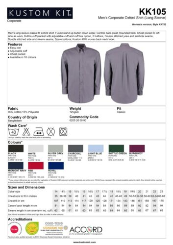 NUOVA Borgogna Aziendale Oxford Camicia A Maniche Lunghe Work Shirt Kk105 RRP £ 18.95