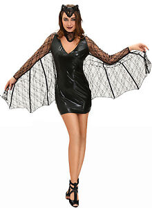 Image is loading Womens-Halloween-Midnight-V&ire-Bat-Fancy-Dress-Costume-  sc 1 st  eBay & Womens Halloween Midnight Vampire Bat Fancy Dress Costume with Wings ...