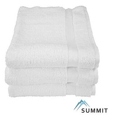 6 NEW WHITE15X25  PURE COTTON TERRY HAND TOWELS SALON/GYM SUMMIT COLLECTION