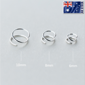 925-Sterling-Silver-Solid-Hoop-Ring-Sleeper-Earrings-Lip-Ear-Nose-Body-Piercing