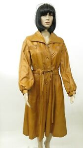 Vintage-1970s-Classic-Brown-Leather-Gathered-Belted-Long-Trench-Coat-Sz-M