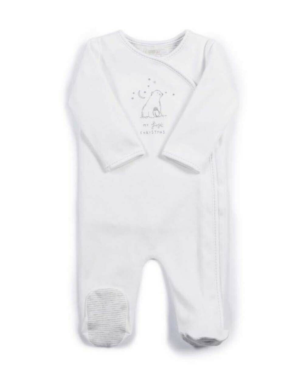 Designer Baby Christmas All-in-One Velvet Babygrow Sleepsuit 0-3Mth Cambrass