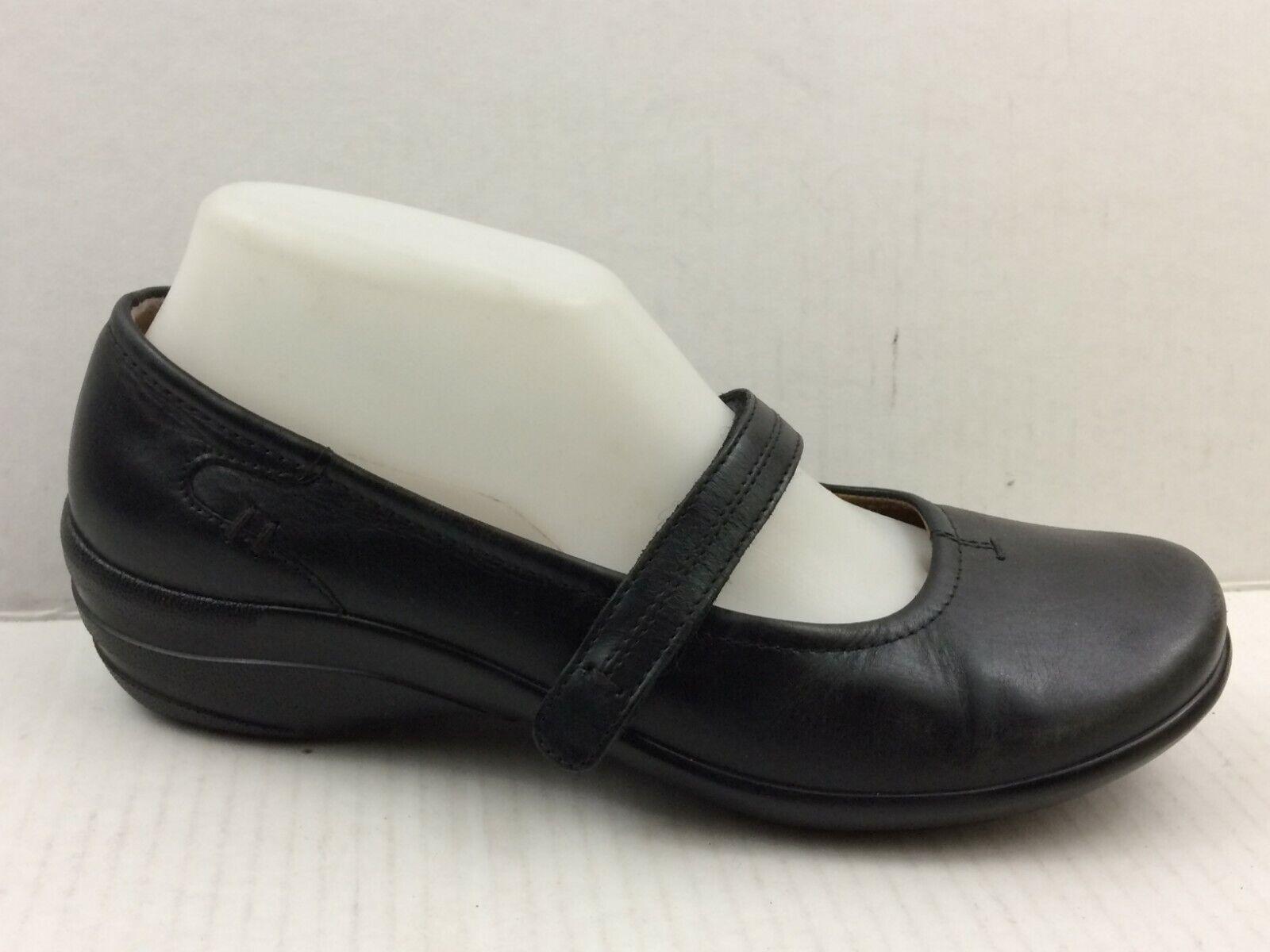 HOTTER Femme 7.5 Moyen Cuir noir Mary Jane Clogs Wedge Talons chaussures Confort