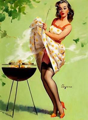 "Vintage GIL ELVGREN Pinup Girl CANVAS ART PRINT Poster BBQ Smoke 16""X 12"""