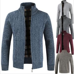 Men-039-s-Sweater-Winter-Warm-Thicken-Zipper-Cardigan-Solid-Casual-Knitwear-Coat-Top