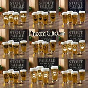 4-pc-Personalized-Pint-Beer-Glass-Set-16-oz-Sports-Bar-Pub-Man-Cave-Groomsman